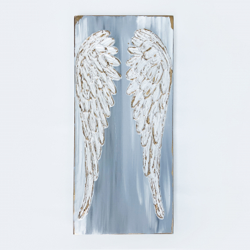 Angel Wings, heavy texture, hand painted, 8x16 on wood, gold metallic, whites and grays