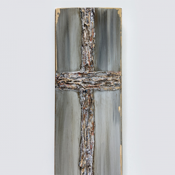 Cross, heavy texture, hand painted, 8x16 on wood, 4x16, grays, blues, copper, gold