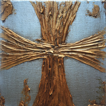 """Aged Silver and Gold Cross Knife Painting 6""""x6"""", hand painted"""