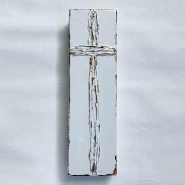 "White and Gold Cross on painted wood, Heavy Texture Painting 4""x12"", hand painted"
