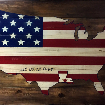 """USA wood sign with highlighted State, 36""""x48"""", reclaimed wood, wall art, wood sign"""