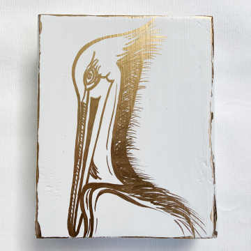 Pelican, hand painted on wood, white and gold, 6x8