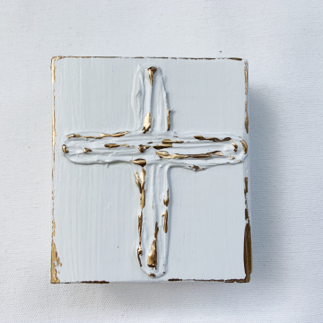 Cross, heavy texture on wood, 4x4, hand painted, white and gold