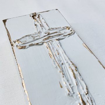 "White and Gold Cross on painted aged wood, Heavy Texture Painting 4""x6"", hand painted"