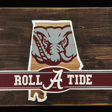 Alabama Roll Tide, hand painted Pallet Art or Pallet Sign Original Design, Alabama State, wall art, wood sign