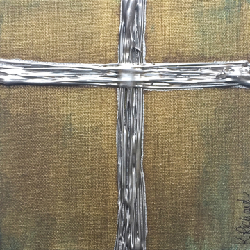 "Silver Cross on Aged Bronze, Heavy Texture Knife Painting 6""x6"", hand painted"