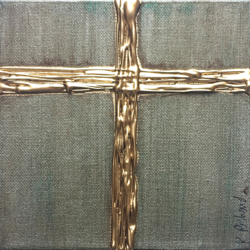 "Gold Cross on Aged Bronze, Heavy Texture Knife Painting 6""x6"", hand painted"