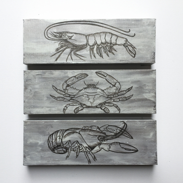 Crab, Shrimp and Crawfish Set hand painted on canvas