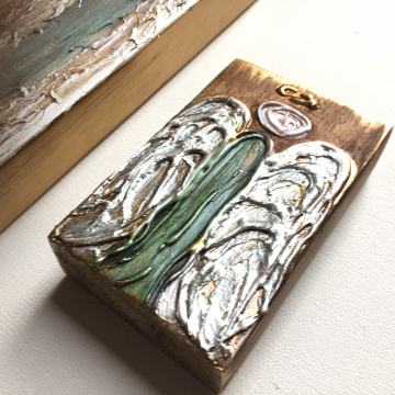"""Angels on painted wood, Heavy Texture Painting 4""""x12"""", hand painted on wood"""