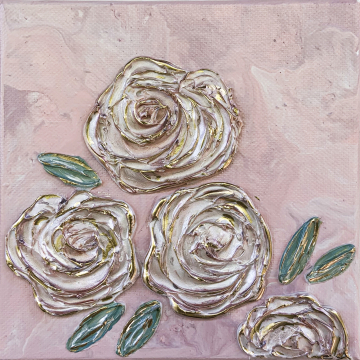 Spring Floral no.5, 6x6, pink acrylic poor with heavy texture flowers, gold accents, hand painted