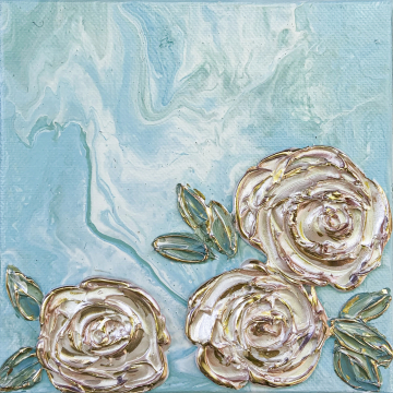 Spring Floral no.4, 6x6, blue acrylic poor with heavy texture flowers, gold accents, hand painted