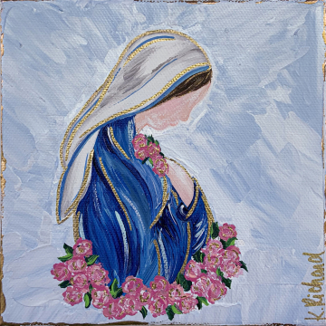 Mother Mary with Roses painting, 6x6, hand painted