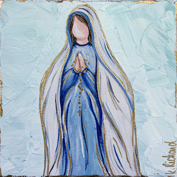 Mother Mary with Rosary painting, 6x6, hand painted