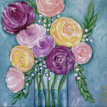 Spring Floral no.1, 10x10, bright colors with gold accents, hand painted
