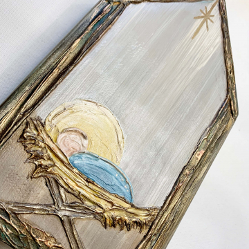 """Manger on wood, Heavy Texture Painting 6""""x10"""", hand painted"""