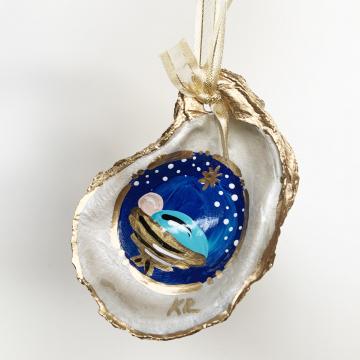 Oyster Shell Christmas Baby Jesus Ornament Keepsake