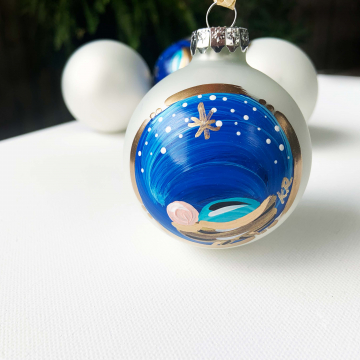 Baby Jesus Ornament, hand painted, heirloom, glass