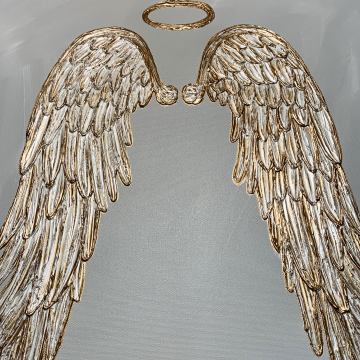 Gold and silver angel wings on canvas, 18x24