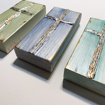 """Cross on painted wood, Heavy Texture Painting 4""""x6"""", hand painted"""