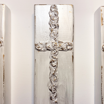 Heavy texture paint aged cross on wood, 4x14, white