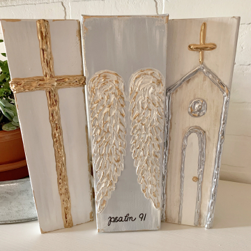 Gift Trio Set, Cross, Wings and Church, hand painted heavy texture
