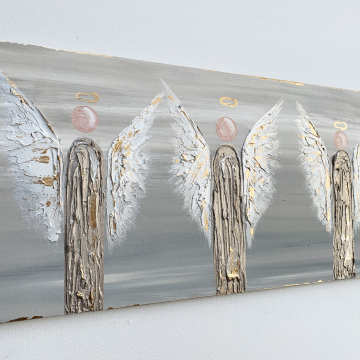 """Angel trio on wood, 8""""x20"""", heavy texture, hand painted"""