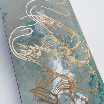 Shrimp painting, hand painted, gold, white, green, taupe, 10x20