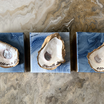 """Oyster with Custom City on painted canvas, 4""""x4"""""""
