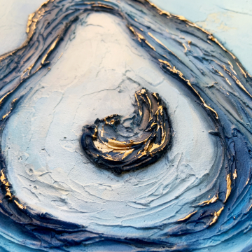 """Oyster Shell Knife Painting, The Louisiana Collection, 6""""x6"""", gold leafing with heavy texture, blue"""