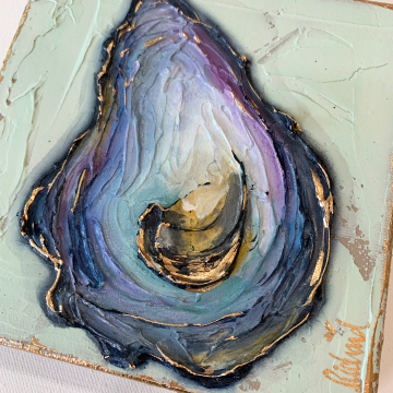 "Oyster Shell Knife Painting, The Louisiana Collection, 6""x6"", gold leafing with heavy texture"
