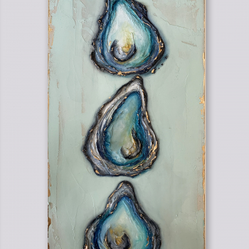 """Triple Oyster Shell Knife Painting, The Louisiana Collection, 10""""x20"""", gold leafing with heavy texture"""