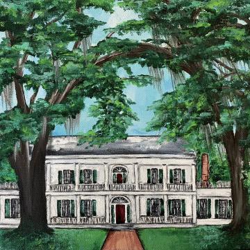 Rosedown Plantation, art print, Louisiana, 8x10