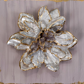 Sculpted flower on wood, hand painted, lavender and gold, 6x6