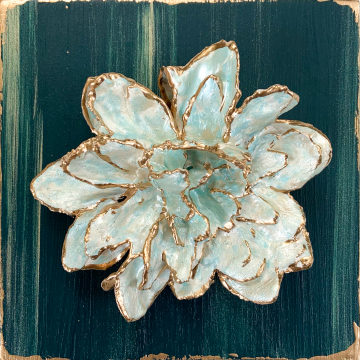Sculpted flower on wood, hand painted, green, mint metallic and gold, 6x6