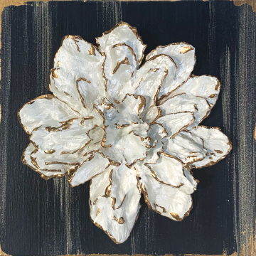 *Sculpted flower on wood, hand painted, navy and gold, 6x6